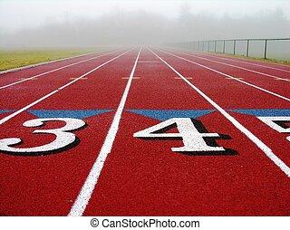 Foggy track. - Foggy red track.
