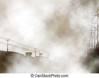Foggy urban background - Editable vector illustration of a...