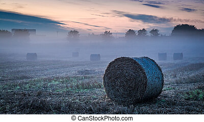 Foggy valley in autumn with hay on field at dawn