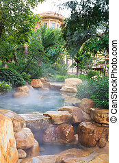 Foggy water pool feature - Detail of the...