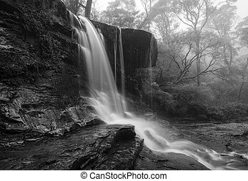 Foggy waterfall in Blue Mountains