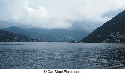 Foggy weather on the Como lake, Italy.