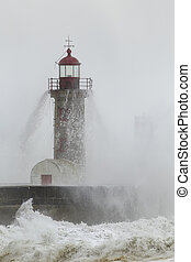 Foggy winter tower
