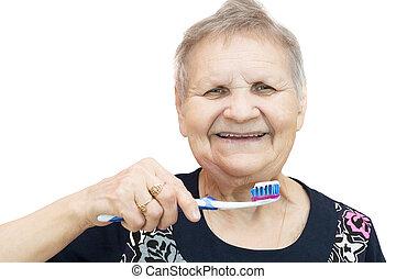 fogkefe, nő