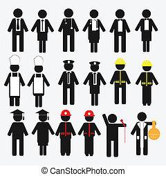 foglalkozás, állhatatos, ikon
