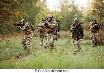 foglalt, felderítés, csoport, katona, terület