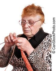 foglalt, kötés, nő, öreg