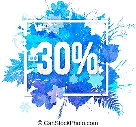 fogli azzurro, percento, -30, acquarello, scontare, bandiera