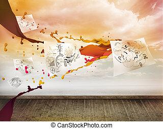 fogli, con, grafica, sopra, cielo, su, parete