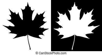 foglia acero, silhouette, doppio