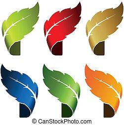 foglia, -, agrostide, nastro, simbolo, per, naturale, prodotto