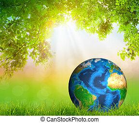 foglia, ammobiliato, questo, primavera, (elements, verde, nasa), fresco, erba, immagine, terra