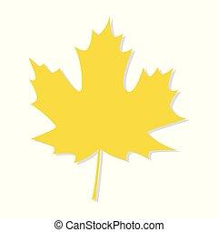 foglia, autunno, vettore, fondo, bianco, acero