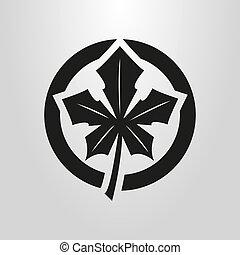 foglia, canadese, semplice, simbolo, rotondo, vettore, cornice, acero