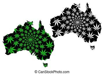 foglia, canapa, continente, -, disegnato, australia, mappa