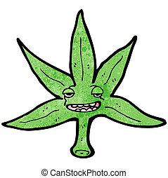 foglia, cartone animato, marijuana