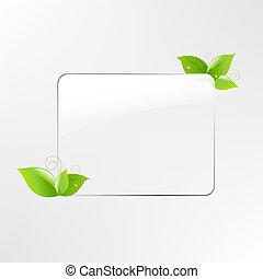 foglia, cornice, vetro