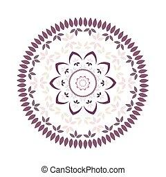 foglia, e, petalo, floreale, mandala, con, radiale, simmetria