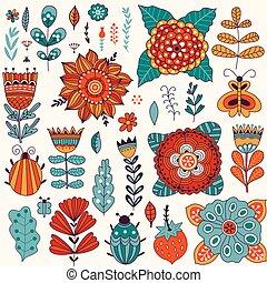 foglia, elementi, scarabocchiare, scheda, disegno floreale