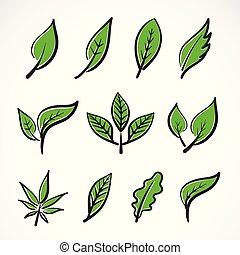foglia, facile, foglie, logotipo, set, icona, vettore, collezione, editable, fondo., illustration., a più livelli, design., bianco