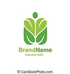 foglia, figura, forma, verde, umano, logotipo