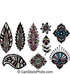 foglia, fiore, disegno, colorito