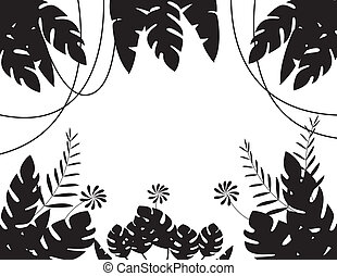 foglia, fondo, silhouette, tropicale