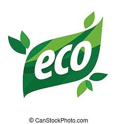 foglia, forma, eco, vettore, verde, logotipo
