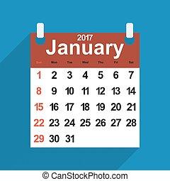 foglia, gennaio, giorni, mese, calendario, 2017