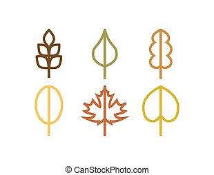 foglia, icone, albero, autunno, vettore, linea sottile