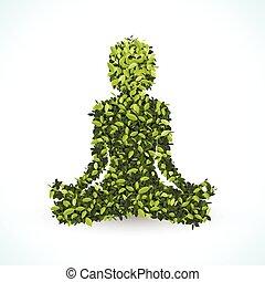 foglia, illustration., loto, forma, vettore, verde, posizione, yoga