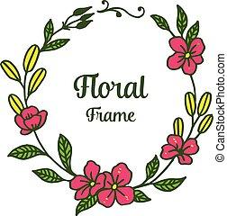 foglia, illustrazione, floreale, vettore, verde, cornici, disegno