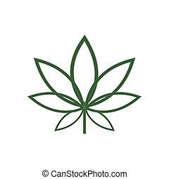 foglia, marijuana, isolato, canapa, vettore, fondo, bianco, ...