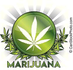 foglia, marijuana, metallico, canapa, disegno, verde, ...