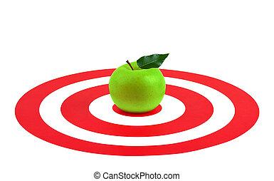 foglia, mela, verde, bersaglio, rosso, centro