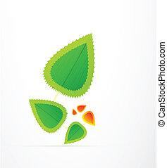 foglia, natura, concept., astratto, vettore, simbolo
