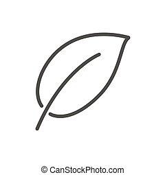 foglia, natura, simbolo., vector., linea, icona