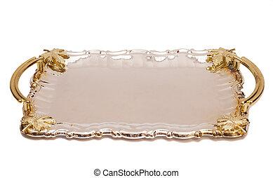 foglia, ornamento, isolato, fondo, bianco, vassoio, argento, vuoto