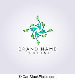 foglia, persone, ballo, quattro, disegno, mani, logotipo, felice, icona