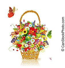 foglia, quattro, disegno, cesto, fiori, seasons., tuo