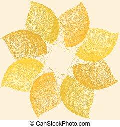 foglia, testo, astratto, autunno, posto, fondo, floreale, tuo