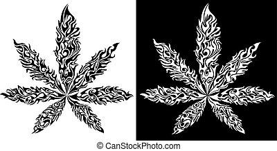 foglia, textured, simbolo, marijuana