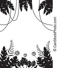 foglia tropicale, silhouette, fondo