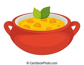foglia, vaso, minestra, vettore, menta, zucca