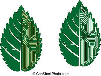 foglia verde, con, computer, e, scheda madre, elementi