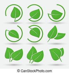 foglia verde, icone, set, bianco, fondo
