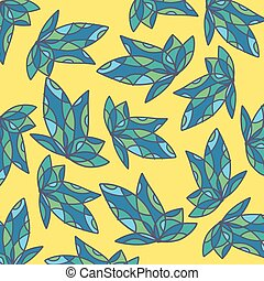 foglia verde, su, sfondo giallo