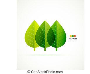 foglia verde, vettore, concetto
