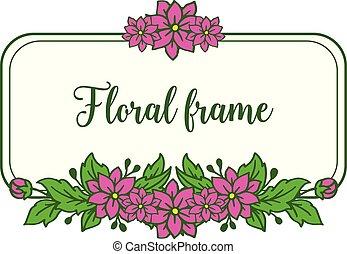 foglia, viola, cornice, illustrazione, vettore, verde, invito, floreale, scheda