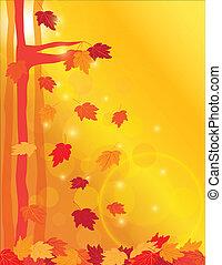 foglie, acero, foresta, illustrazione, cadere